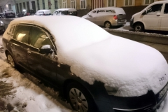 Snow covered car in Vienna.