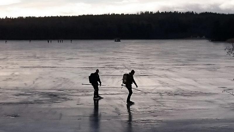 Skaters on the ice at lage Mälaren.