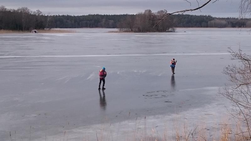 Skaters on the ice lake Mälaren.