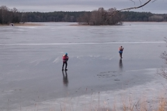 Skaters on the ice lake Mälaren.