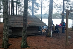 Lunch at shelter by frozen lake