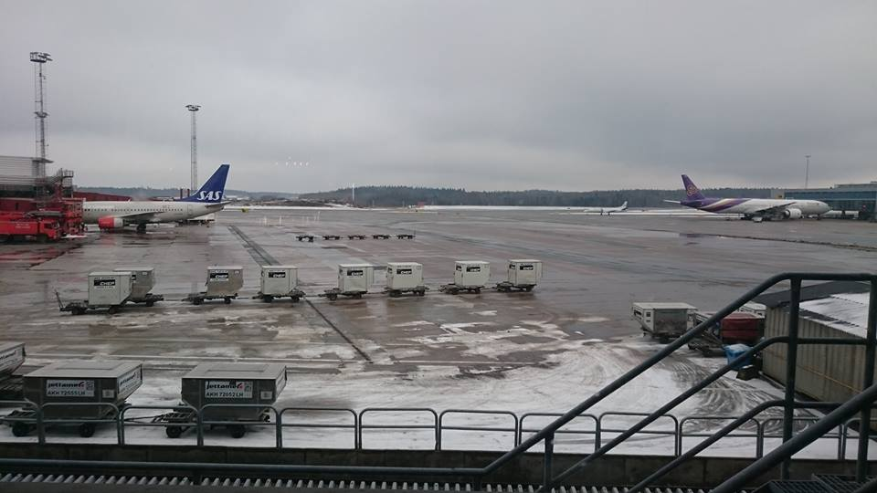 Arlanda airport on a February morning as I wait to travel to Barcelona.
